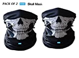Nikavi NKV2SKUL1 Seamless Skull Face Tube Mask (Black, Set of 2)