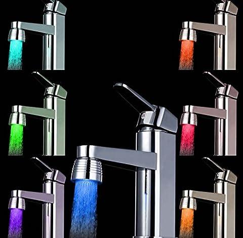 Inovey Les LED Colorée Conduit Robinet Robinet Lumineux Température Caméléon Couleur Robinet Tête Lampe -7 Couleurs + 2 Adaptateurs