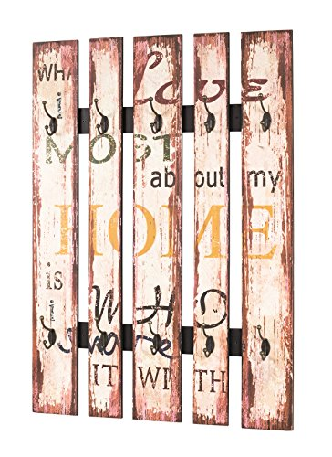Wandgarderobe in Vintageoptik mit 10 Garderobenhaken; Maße: 70x10x100 cm