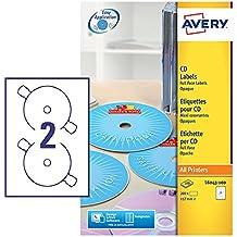 Avery Zweckform L6043-100 CD-Etiketten (A4, 200 Stück, Ø 117 mm) 100 Blatt weiß