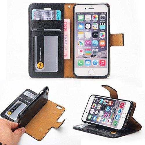 EKINHUI Case Cover Verrückte Pferd Textur Abnehmbare Design PU Leder Geldbörse Tasche Tasche mit Kartensteckplätzen für iPhone 6 Plus & 6s Plus ( Color : Green ) Black