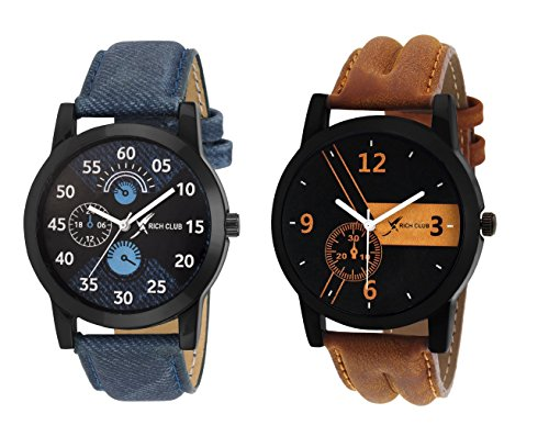 Rich Club Combo of 2 Analogue Black Dial Mens and Boys Watches-Rel-Denim