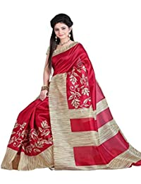 Macube Women's Bhagalpuri Silk Printed Saree With Blouse Piece - MS184_25_Red And Beige_Free Size