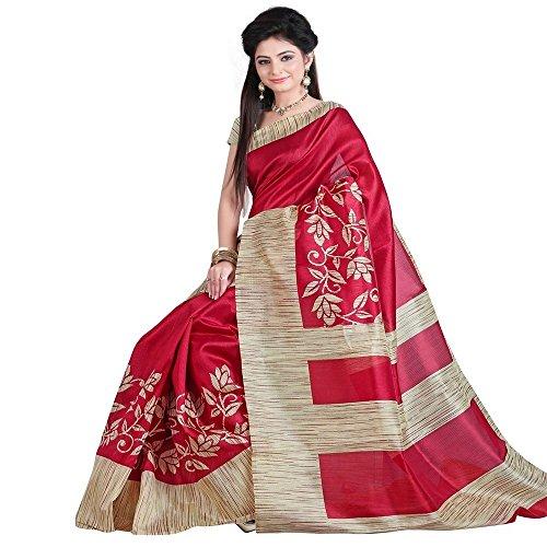 ISK FABRICS Women's Latest Bhagalpuri Silk Printed Saree With Printed Blouse Piece