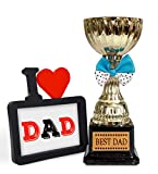 #6: TIED RIBBONS® Fathers Day Gifts from Daughter Father's Day Special Photo Frame with Golden Trophy