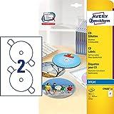 AVERY Zweckform C9660-25 CD-Etiketten (A4, 50 Etiketten, hochglänzend, Ø 117 mm, 25 Blatt) weiß