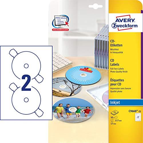 Avery Zweckform, C9660-25, Etichette CD 25 fogli, Formato speciale SuperSize, Getto d'inchiostro, 2880 dpi, ø 117