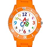 Taffstyle Kinder Armbanduhr Silikon Sportuhr Bunte Sport Uhr Kinderuhr Lernuhr Zahlen ABC Motiv Analog Orange