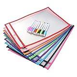 STOBOK Pochettes réutilisables effaçables à sec Feuille de Plastique Protecteurs (10 poches + 10 stylos)