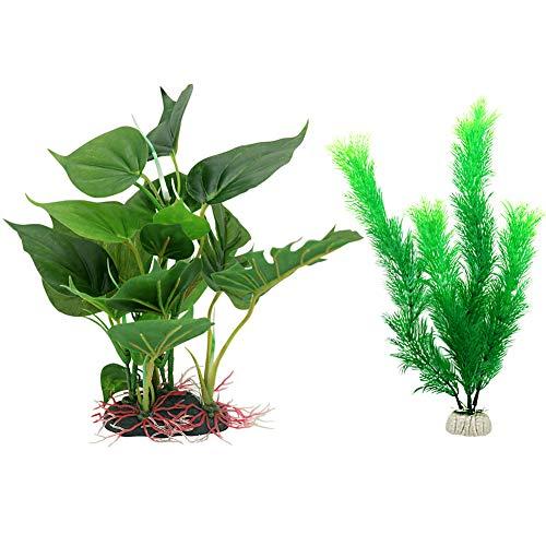 Vivifying Künstliche Aquarium-Pflanzen, 2 Stück Plastik-Pflanze für Fisch-Tanks