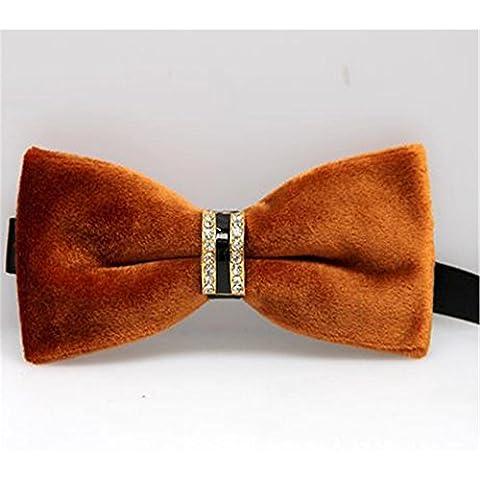 Moda Uomo elegante del diamante del legame di arco d'oro velluto Collare Fiori per la festa nuziale , camel - Oro Lungo Diamante Set