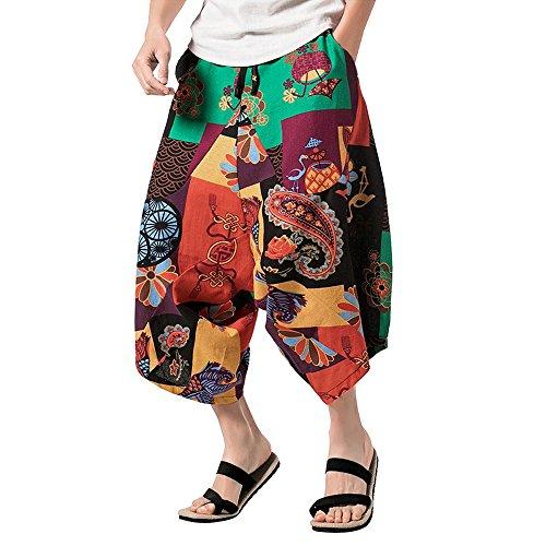 Manadlian Haremshose für Frauen und Männer mit hochwertigem Druck Blumen Muster Hose Entspannt...