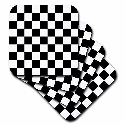 �_ 3Check, schwarz und weiß pattern-checkered kariert Squares Schach oder Racing Car Race flag-ceramic Tile Untersetzer, 4Stück (Schwarz Und Weiß-race Flag)