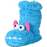 Kids Novelty Padded Faux Fur Monster Face Sock Slippers With Anti-Slip Sole