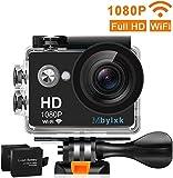 Mbylxk Mbylxk Action Cam 1080P HD 12 MP 170°Ultra-Weitwinkel, WiFi 2,0 Zoll, Wasserdicht mit kostenlosem Accessories-Kit (schwarz)