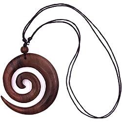 Collar Ajustable de Madera con Diseño Étnico Tribal en espiral