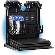 GameSide Bundle Big Daddy - Soporte de pared horizontal con ventilador, USB led lights strip para PS4, Slim y Pro, PS3, Xbox One X, Xbox One S, Xbox 360 | Espacio 16 juegos, 2 pad | Negro