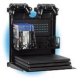 GameSide Bundle Big Daddy - Horizontal wandhalterung mit Kühlgebläse, vielfarbig led licht für PS4, Slim und Pro, PS3, Xbox One X, Xbox One S, Xbox 360 | Raum für 16 spiele, 2 pad | Schwarz