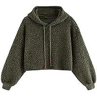 U.Expectating Damen Casual Winter Kapuzenpullover Plüsch Langarm Pullover Basic Sweatshirt Langarmshirt Einfarbig Warm Hoodie
