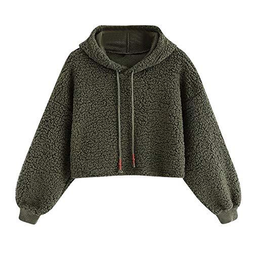 Damen Warm Faux Fur Kapuzenpullover Sweatshirt MYMYG Hoodie mit Seitenverschluss Strickpullover...