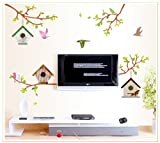 GalaxyComfort Bird Cage Wall Sticker Removable Home Decors Decal Art - Multicolor
