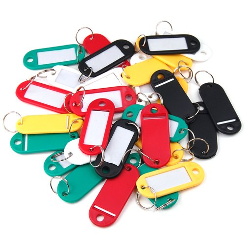 outdoortips-30-x-coloured-plastic-key-fobs-key-rings-luggage-id-tags-labels-keyrings-with-name-cards