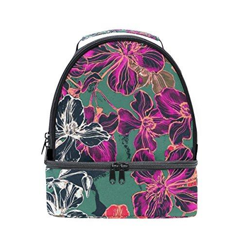 COOSUN Tie Dye Blumen Lunch Bag Dual-Deck Isolierte Lunch Cooler Tote Bag verstellbaren Riemen Griff für Männer Teens Jungen Mädchen Groß Multi -