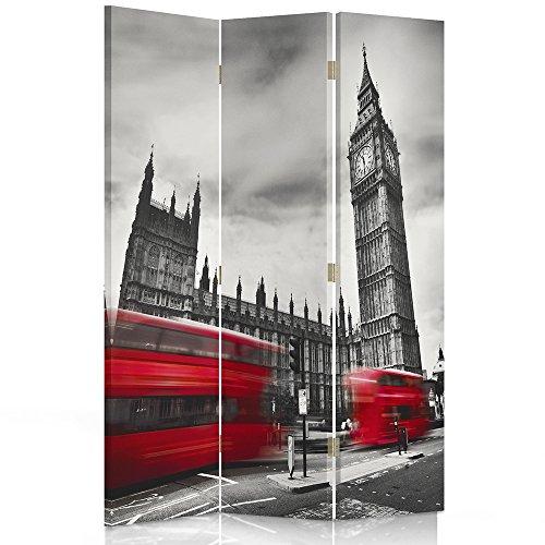 Feeby Frames. Raumteiler, Ggedruckten aufCanvas, Leinwand Wandschirme, dekorative Trennwand, Paravent einseitig, 3 teilig (110x150 cm), London, Big Ben, ROT BUSSE, SCHWARZ-WEIß