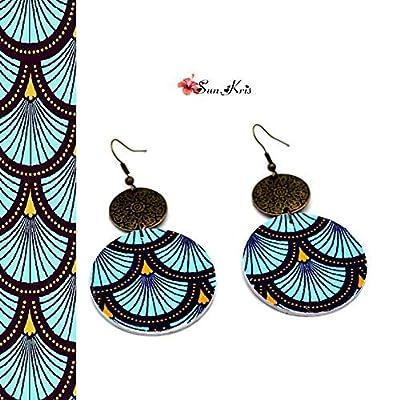 Boucles d'oreilles ronde imprimé wax motif vague japonaise bleu bronze bijou papier ethnique