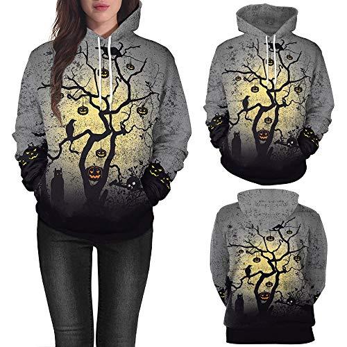 (Halloween Sweatshirt Damen Frauen Kürbis Print Langarm Pullover Bluse mit Kapuze (M))