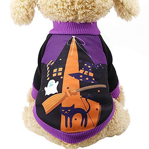 JHion Hunde-T-Shirt für Halloween, Kürbis, 100% Baumwolle, süßes -