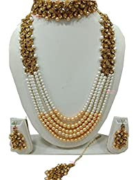 Apsara Art Jewellery Traditional Kundan Necklace Set With Golden Pearl And Golden Lct Stone Studded In Gold Plated...