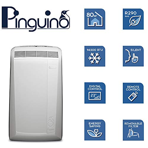 51j5UpFQirL. SS500  - De'Longhi Pinguino PACN82 Eco | Portable Air Conditioner with Real Feel Technology | 80m³, 9,400 BTU, A Energy…
