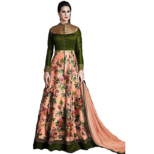 New Peach & Green Colour Silk Designer Anarkali Suit  available at amazon for Rs.1199