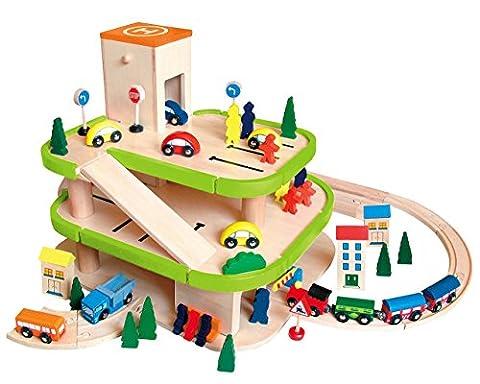 Auto Garage / Parkhaus - mit 3 Ebenen aus Holz - incl. Auto + Figuren - Autos - Holzeisenbahn / Eisenbahn - passend mit Schienensystem - paßt zu allen gängigen Schienen - Holzgarage Eisenbahnschienen / Schienen Autogarage - (Holzspielzeug Parkhaus)
