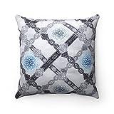 moroccanity Marokkanische Luxus Designer Jacquard gemustert Strukturierte Weich Stoff Geometrische Damast Muster Fliesen Scatter Cushion Pillow Cover–Blau & Grau–43,2x 43,2cm