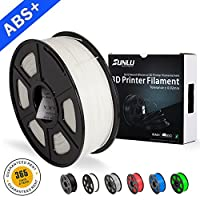 SUNLU ABS Plus 3D Printer Filament, ABS Filament 1.75 mm, 3D Printing filament Low Odor Dimensional Accuracy +/- 0.02 mm, 2.2 LBS (1KG) Spool 3D Filament for 3D Printers & 3D Pens,White ABS+