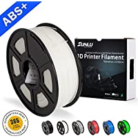 SUNLU ABS Filaments for 3D Printer-White ABS Filament 1.75 mm,Low Odor Dimensional Accuracy +/- 0.02 mm 3D Printing Filament,2.2 LBS (1KG) Spool 3D Printer Filament for 3D Printers & 3D Pens,White