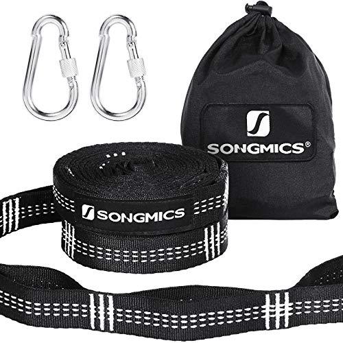 SONGMICS 2 Cinghie per Amaca 3 m con 2 Moschettoni Regge Fino a 300 kg, Sistema di Fissaggio durevoli e Regolabili GDC03BW