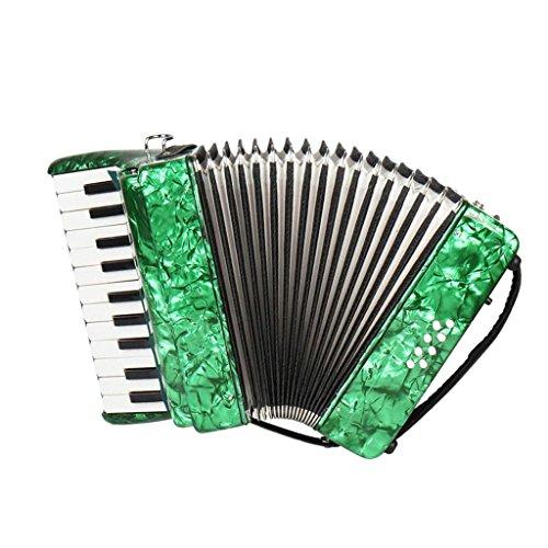 Baoblaze 22 Tasten Kinder Knopfakkordeon Musikinstrument Pädagogisches Spielzeug inkl. Tasche - Grün