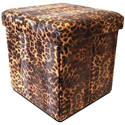 Klappbarer Hocker Polsterhocker Klapphocker Sitzwürfel Sitzhocker Aufbewahrungsbox 38x38x38cm / Tierfelloptik