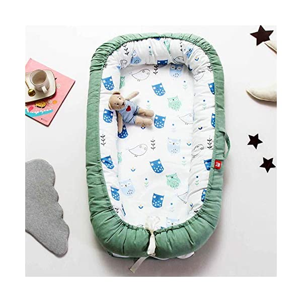 YANGGUANGBAOBEI Baby Lounger,for Baby Organic Cotton, Virgin Fiberfill - Bedroom/Travel Camping,Suitable From 0-24 Months,Green YANGGUANGBAOBEI [Portable]: The lightweight design makes the baby lounger easy as a bassinet for a bed, or travel bed. Makes baby feel more secure and cozy. [Breathable Material]: Made of 100% cotton fabric and high quality 3D polymer material filler. Safe to baby's sensitive skin. It can give your baby safe and just like sleeping in the mother's arms, enjoying more deep sleep. [Creative Design]: The baby lounger simulates the bionic design of the uterus, like sleeping in the mother's arms, enjoying more deep sleep, and reducing the frequency of putting kids go to bed. 1