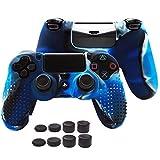 EEEKit Funda Protectora de Silicona Antideslizante para Sony PS4 / PS4 Slim / PS4 Pro Controller con 8 agarraderas para Pulgar (Azul)