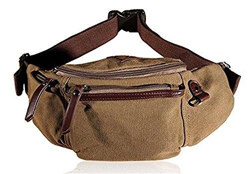 KISS GOLD Leinwand Bauchtasche Hüfttasche Waist Bag,20x17x2 cm (B x H x T) Khaki