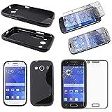 ebestStar - compatibel Samsung Galaxy Ace 4 Hülle SM-G357FZ TPU S-line Style Silikongel Handyhülle, Schutzhülle Case Cover, Schwarz + Panzerglas Schutzfolie [Phone: 121.4 x 62.9 x 10.8mm, 4.0'']