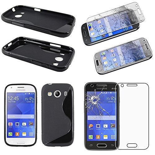 ebestStar - Compatibile Cover Samsung Ace 4 Galaxy SM-G357FZ Custodia Protezione S-Line Design Silicone Gel Morbida Sottile, Nero + Pellicola Vetro Temperato [Apparecchio: 121.4 x62.9 x10.8mm, 4.0'']