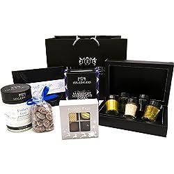 Hallingers Geschenk-Set mit Tafel, Schokolade, Pralinen, Mandeln, Gewürz, Essig & Öl (360g) - Groß No. 01 (Große Genusstasche) - zu Weihnachten