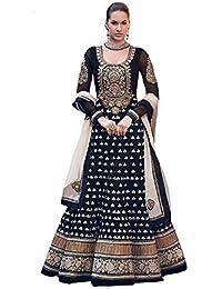 Purva Art Womens New Arrival Diwali Black Georgette Semi-Stitched Dress (PA_DBD_851_Black_Embroidery Work)