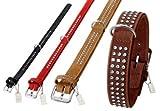 Halsband BUFFALO aus Leder mit Strassbesatz in 6 Farben und 12 Größen (von 18cm bis 65cm)