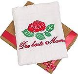 Abc Casa Geschenk zum Geburtstag für Mama oder Muttertag - Handtuch mit gestickter Rose und Inschrift Die beste Mama - eine praktische Geschenkidee für die Mama
